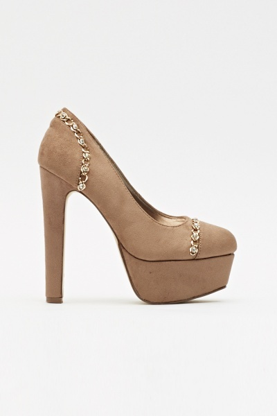 Encrusted Chain Suedette Heels