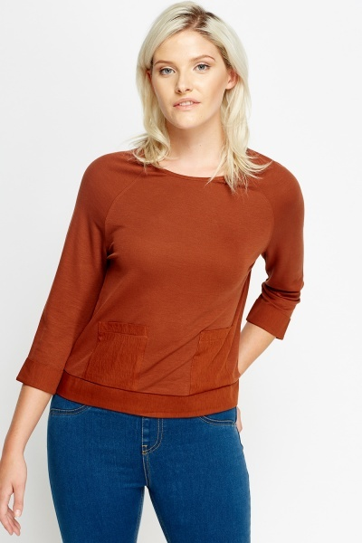 Contrast Pocket Front Casual Top