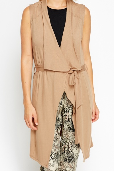 Sleeveless Light Brown Cardigan