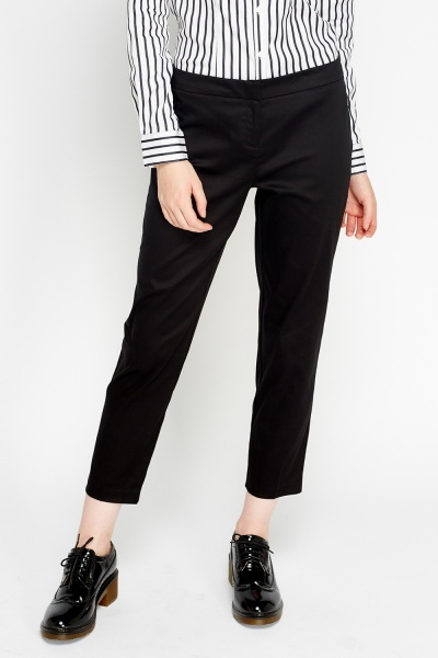 Tailored Cropped Black Trousers