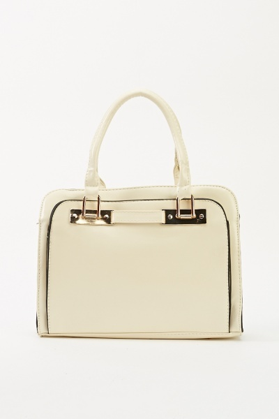 Faux Leather Box Handbag
