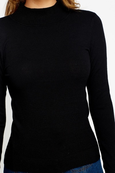 Black High Neck Knit Top