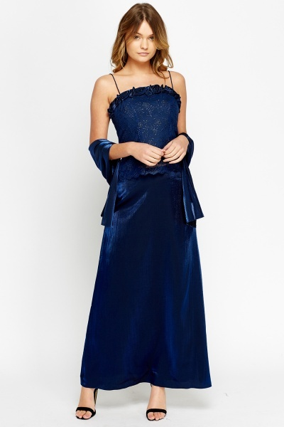 Mesh Bodice Metallic Maxi Prom Dress