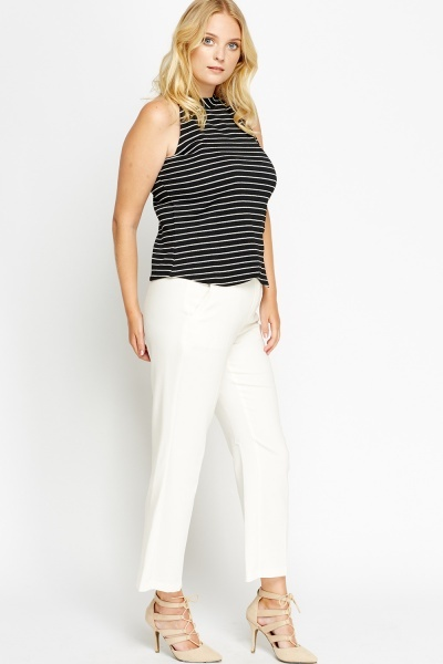 White Flared Trousers