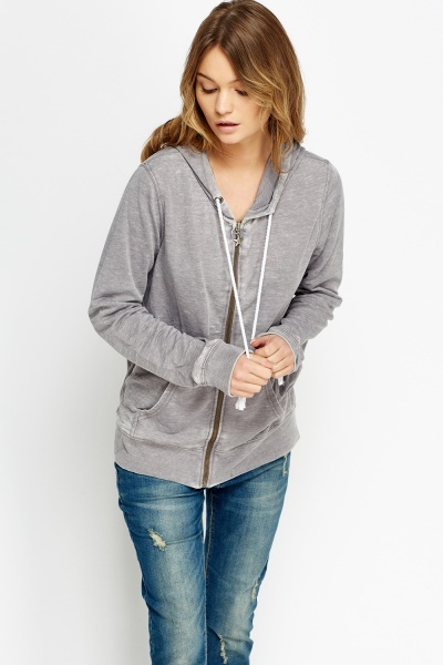 Zipped Front Casual Hood Sweater