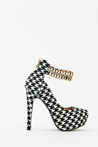 Ankle Strap Houndstooth Pattern Heels