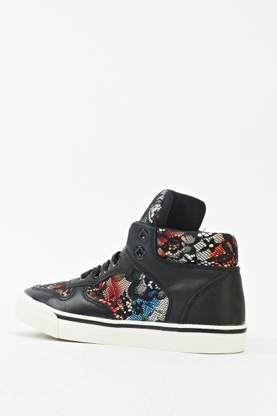 Insert Floral Lace High Top Trainers