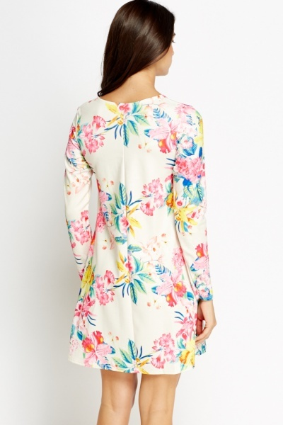 Cream Floral Shift Dress