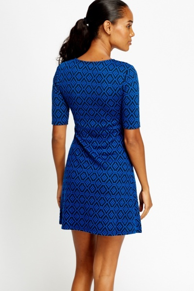 Royal Blue Printed Skater Dress