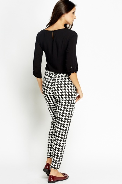 Houndstooth Formal Printed Trousers