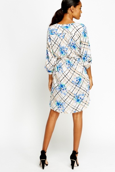 Mixed Print White Tunic Dress
