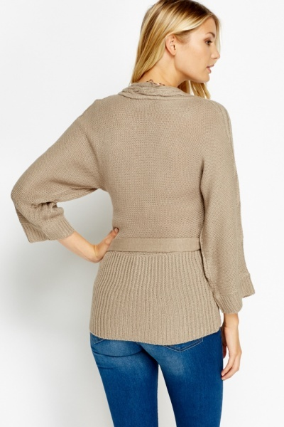 Cable Knit High Waist Tie Jumper