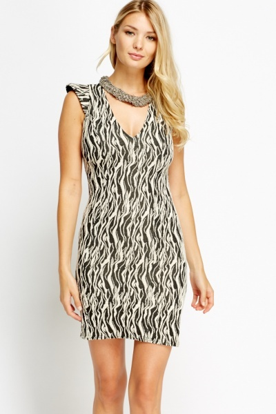 Image of Cup Sleeve Black Textured Bodycon Dress