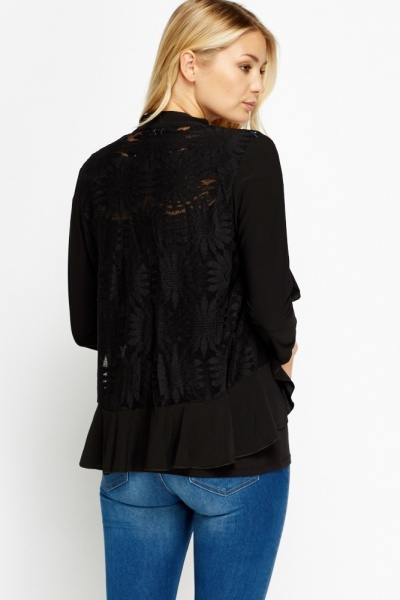 Floral Lace Back Open Cardigan