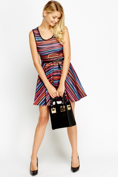 Mixed Line Skater Dress