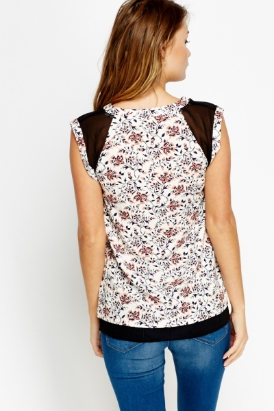 Floral Cream Shell Top