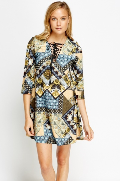 Image of Khaki Mixed Print Shift Dress