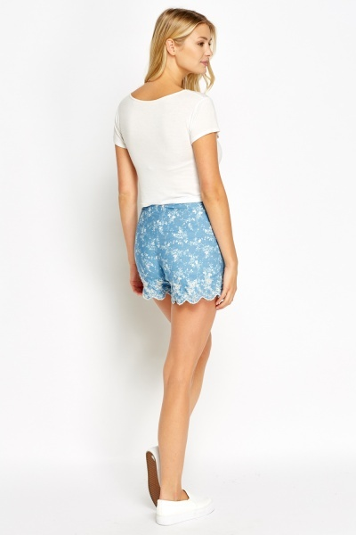 Embroidery Scallop High Waisted Shorts