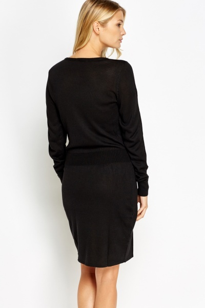 Fitted Waist Knitted Jumper Dress