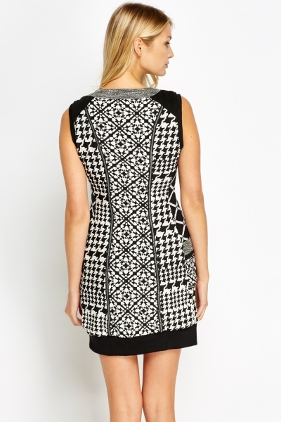 Zipped Mono Mixed Dress
