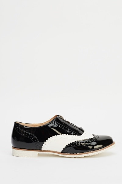 Faux Laser Cut Zipped PU Brogues