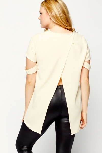 Cut Sleeve Dip Hem Top