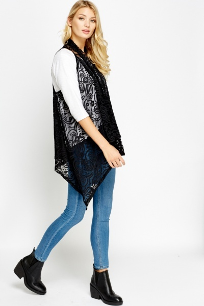 Lace Asymmetric Open Cardigan