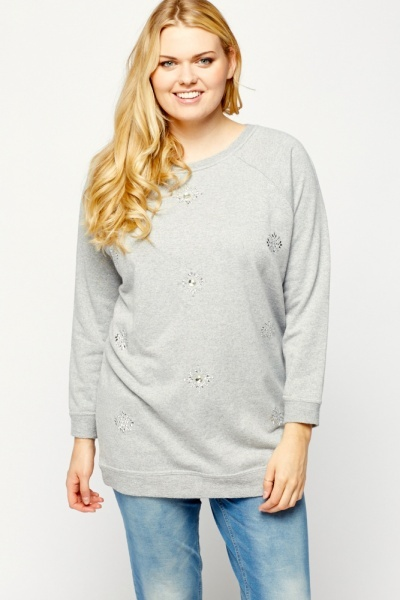 Flower Embellished Jumper