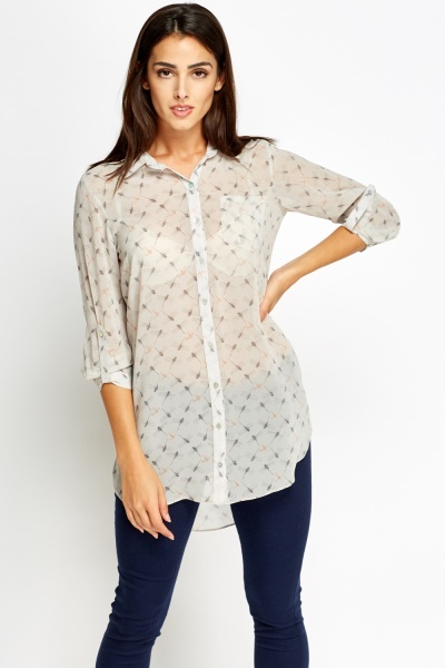 Dragon Fly Sheer Shirt Blouse