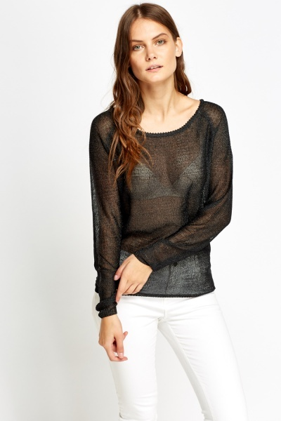 Knitted Sheer Back Top