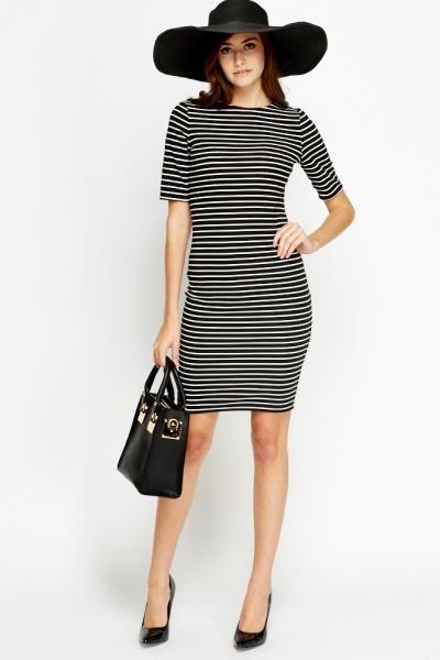 Black and white striped midi bodycon dress