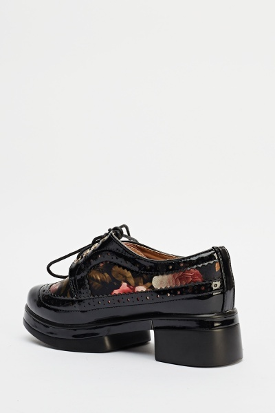 Metallic Floral Print Brogue Shoes