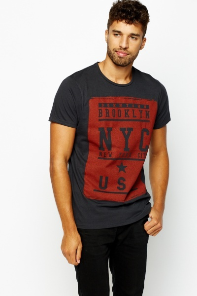 City Print Block Cotton T-shirt