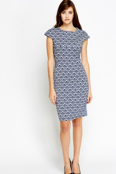 Image of Contrast Midi Printed Bodycon Dress