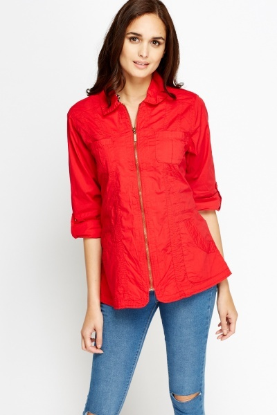 Cotton Blend Zipped Shirt