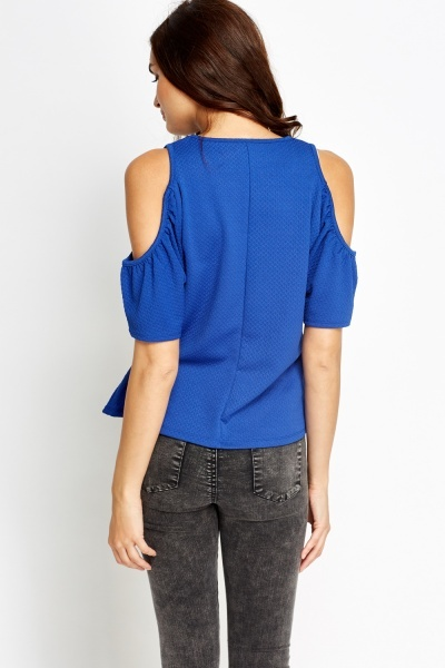 Textured Royal Blue Cold Shoulder Top