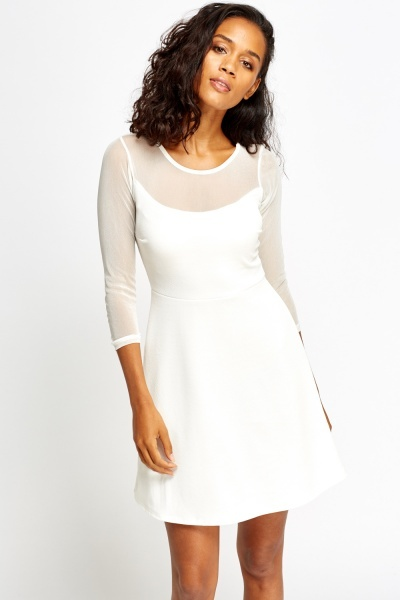 Mesh Bodice Swing Dress