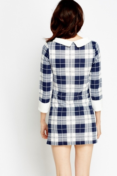 Checked Collared Mini Bodycon Dress