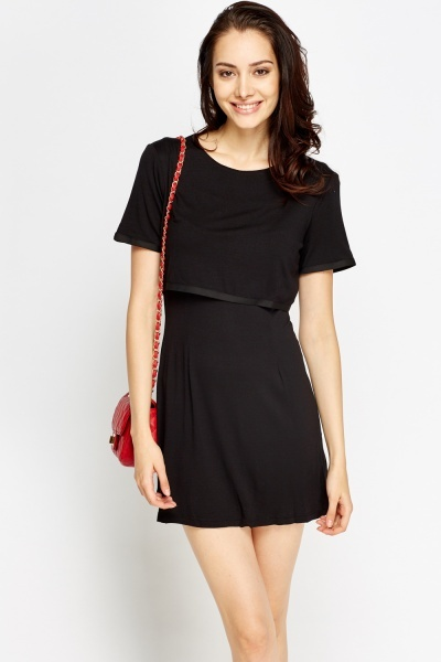 Short Sleeve Overlay Dress