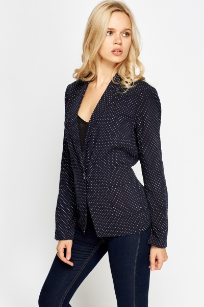 Dotted Print Formal Blazer