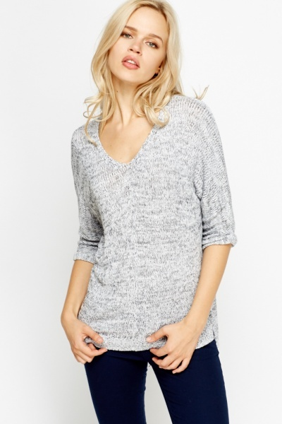 Knitted V-Neck Top