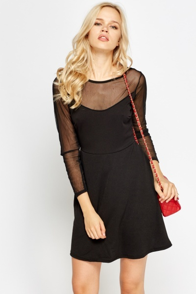 Mesh Insert Swing Black Dress