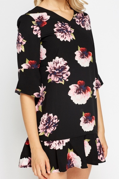 Pleated Hem Floral Mini Dress