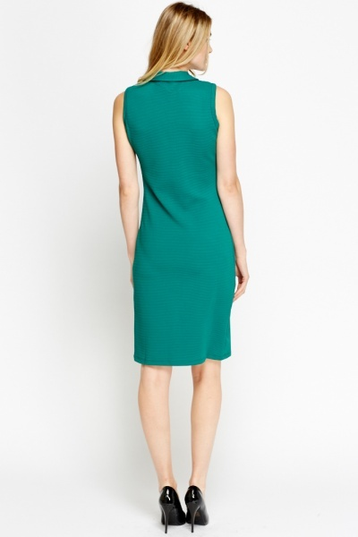 Textured Zipped Front Pencil Dress