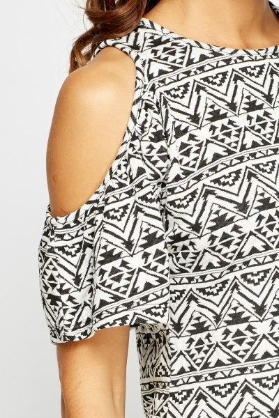 Cold Shoulder Mono Print Top