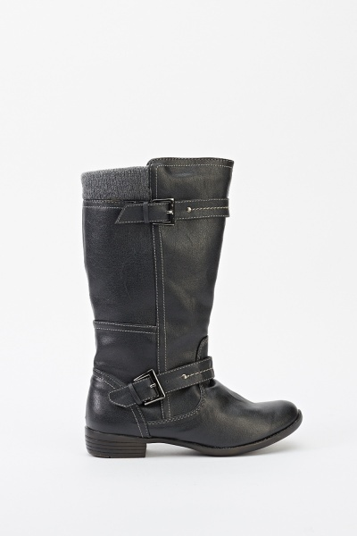 Insert Ribbed Top Faux Leather Boots