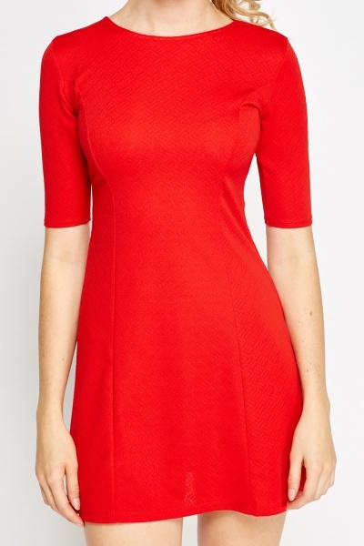 Textured Red Skater Dress
