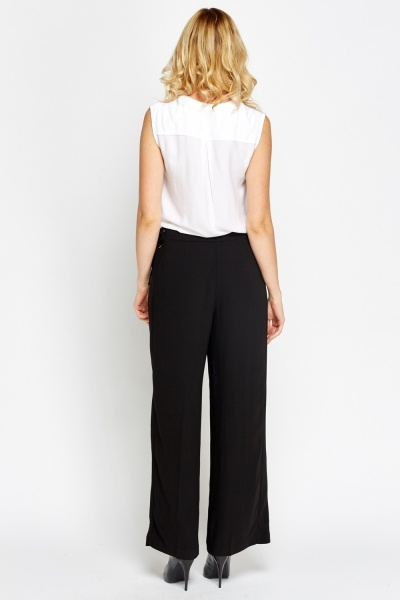 Wide Leg Black Formal Trousers