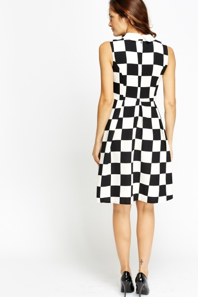 Collared Racer Check Skater Dress