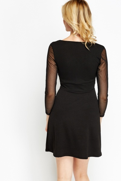 Mesh Insert Black Skater Dress